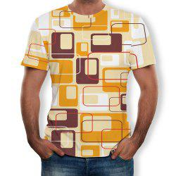 3D Casual Fashion Pane Printing Men's Short Sleeve T-shirt -