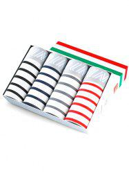 Men Stripe Breathable Perspiration Stylish Boxers 4pcs -