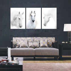 Triptych Core Handsome White Horse Oil Painting -