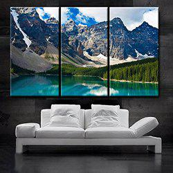 Triptych Core At The Foot Of The Beautiful Snowy Mountain Oil Painting 3pcs -