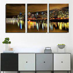 Triple Painting Core City Night Water Reflection Oil Painting 3pcs -