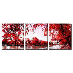 Triptych Core Red Leaf Tree Oil Painting 3pcs -