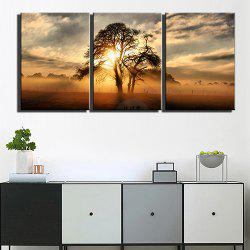 Triple Painting Core Sunset Tree View Oil Painting -