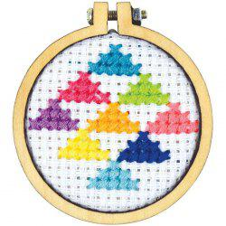 8-3C8D9_2 Wooden Small Embroidered Stretch Mini Jewelry Cross Fixed Frame 3CM Round -