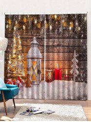 2 Panels Christmas Tree Lantern Print Window Curtains -