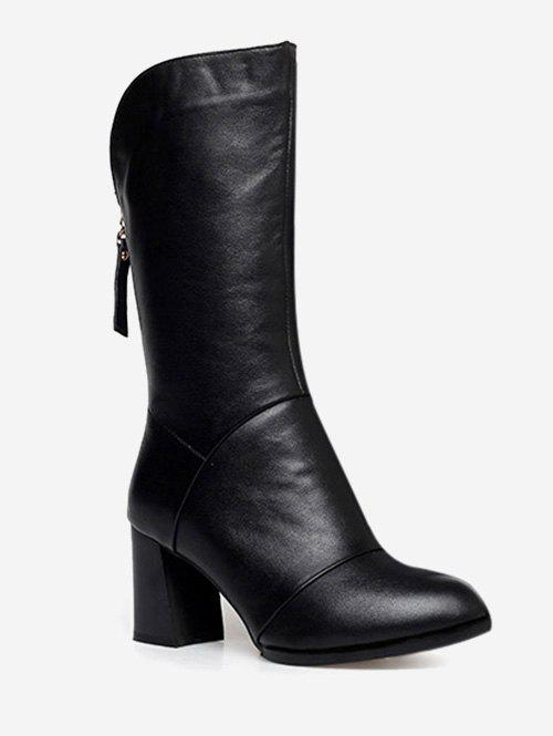 Best PU Leather Heeled Mid Calf Boots