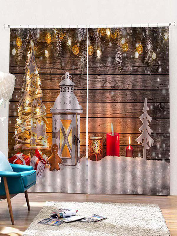 Discount 2 Panels Christmas Tree Lantern Print Window Curtains