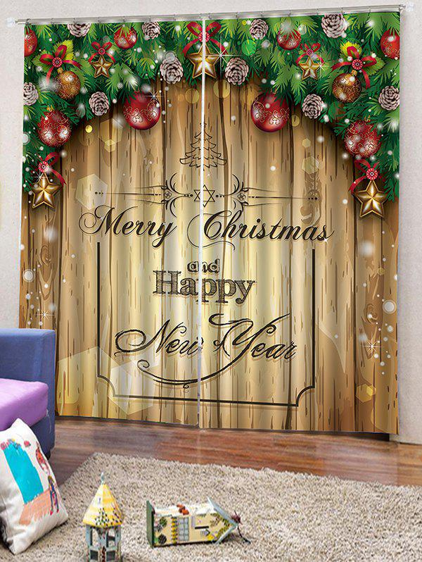 Hot 2 Panels Christmas Blessing Print Window Curtains