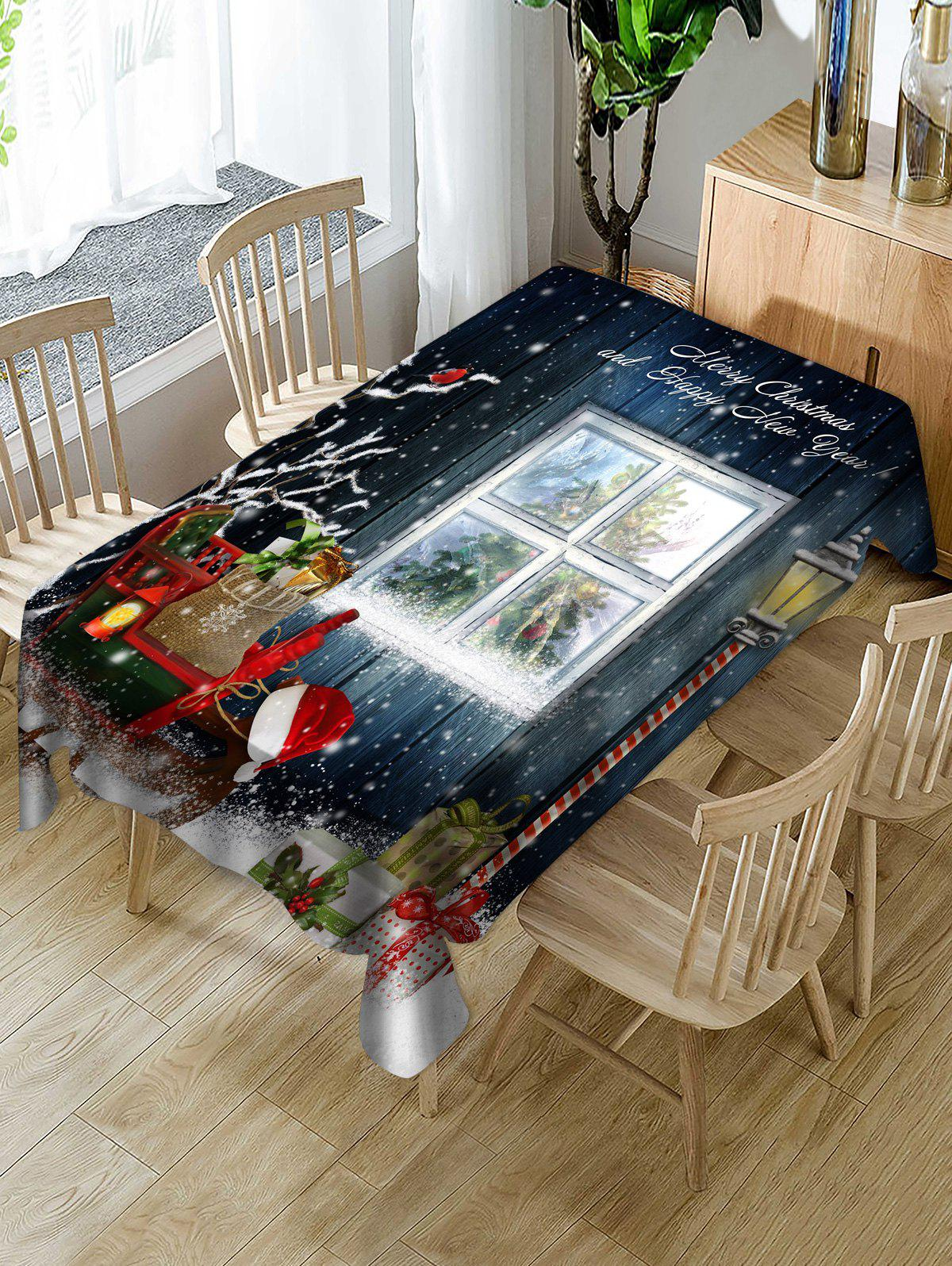 Shop Christmas House Window Print Fabric Waterproof Tablecloth
