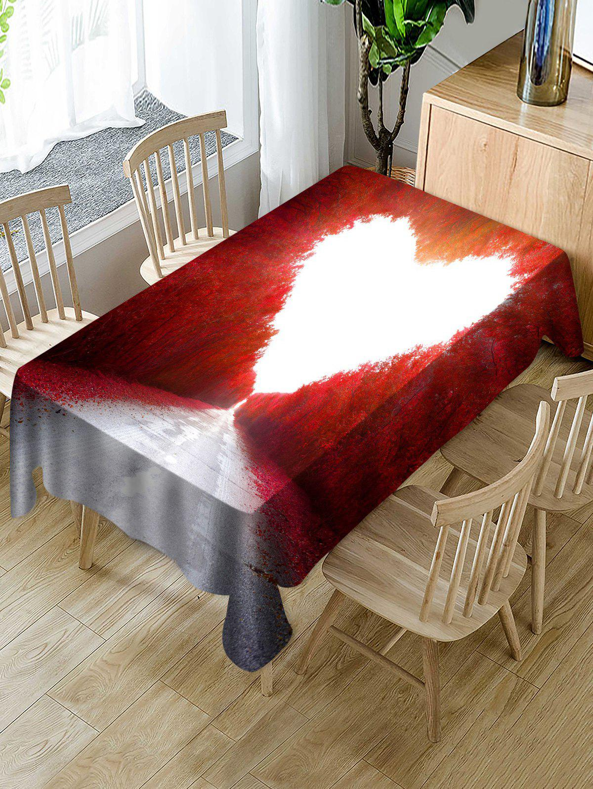 New Maple Forest Heart Print Fabric Waterproof Tablecloth