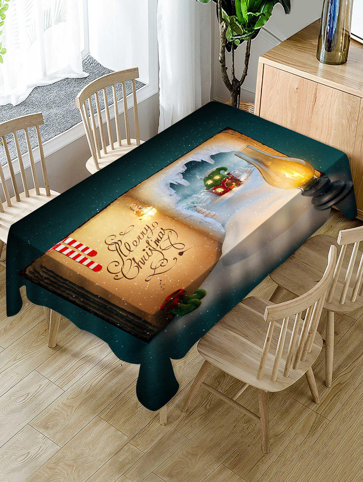 Latest Christmas Book Print Fabric Waterproof Tablecloth
