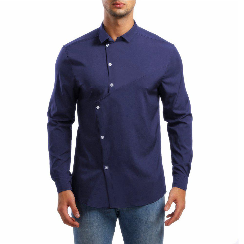 Store Men's Asymmetrical Lapel Long Sleeve Shirt