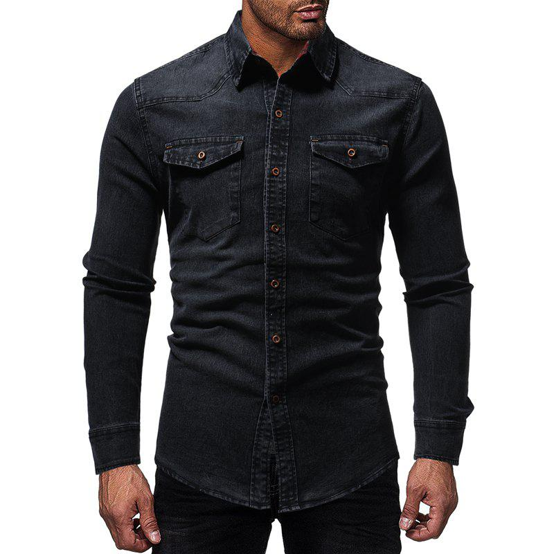 Sale Men's Casual Plaid-lined Denim Long-sleeved Shirt Slim