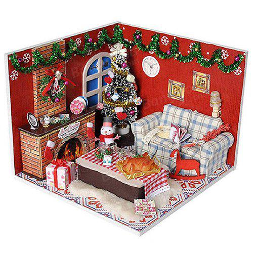 Shops Wooden Furniture Kits LED Light Miniature Christmas Room DIY Dollhouse Puzzle Toy