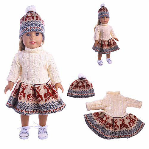 bb3608ac8 Chic 18 Inches Doll Deer Sweater Dress Hat Clothing Set Without Reborn Baby  Doll