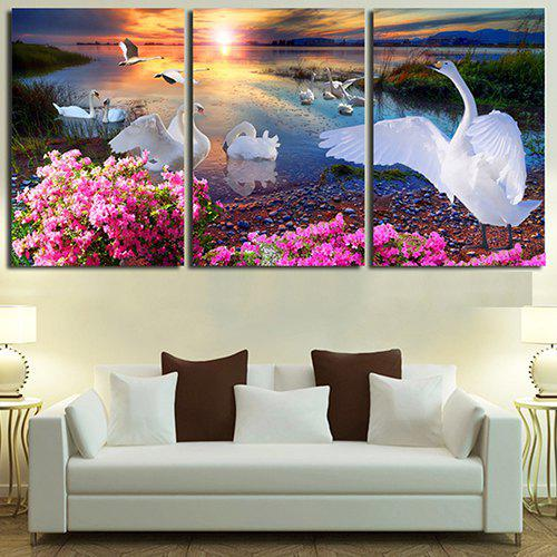Best Triptych Core Beautiful Sunset Swan Lake Oil Painting