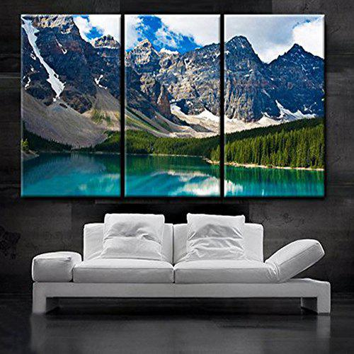 Best Triptych Core At The Foot Of The Beautiful Snowy Mountain Oil Painting 3pcs
