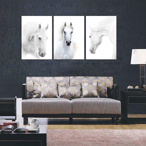 Outfits Triptych Core Handsome White Horse Oil Painting