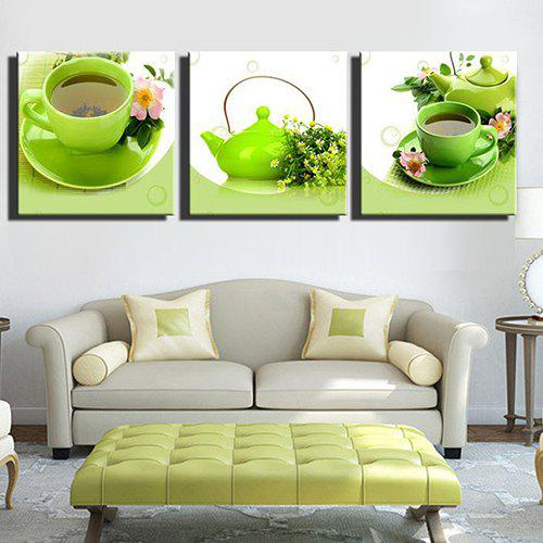 Cheap Triple Painting Core Fresh Green Tea Set Oil Painting