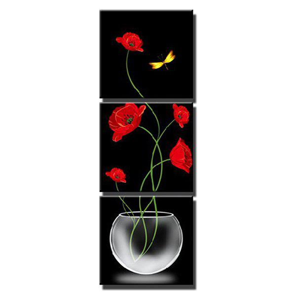 Affordable Triptych Core Transparent Vase Red Flowers Oil Painting 3pcs