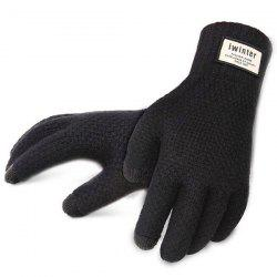 Men's Touch Screen Plus Velvet Warm Driving Knitted Wool Gloves -