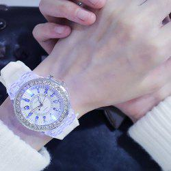 3152636 Luminous Personality Rhinestone LED Fashion Trend Men Women Couple Quartz Watch -