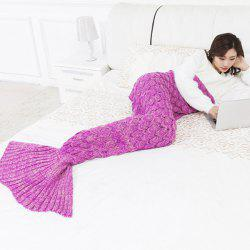 Mermaid Fish Scale Knitted Mermaid Tail Blanket for Children -
