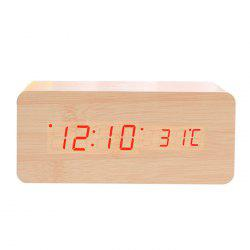 Creative Wireless Charging Voice-activated LED Wood Clock Electronic Creative Silent Alarm Clock Wooden Clock -