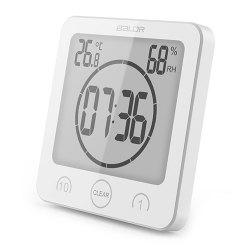 BALDR 1/10 Minute Countdown Waterproof Bathroom Electronic Clock Temperature Humidity Meter With Suction Cup Bracket -