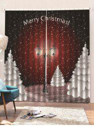 2 Panels Christmas Night Streetlight Print Window Curtains -
