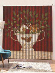 2 Panels Christmas Potted Plant Print Window Curtains -