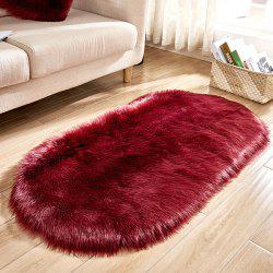 Wool-like Oval Living Room Carpet Floor Mat Door Mat Bedside Mat 50 x 80 cm -