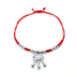 Red Rope Woven Alloy Silver Bracelet -