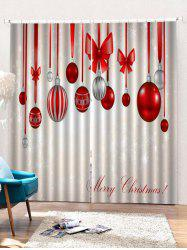 2 Panels Christmas Hanging Balls Print Window Curtains -