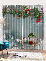 2 Panels Christmas Merry Print Window Curtains -