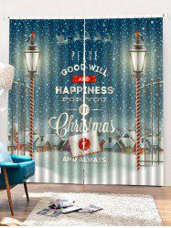 2 Panels Christmas Town Blessing Print Window Curtains -