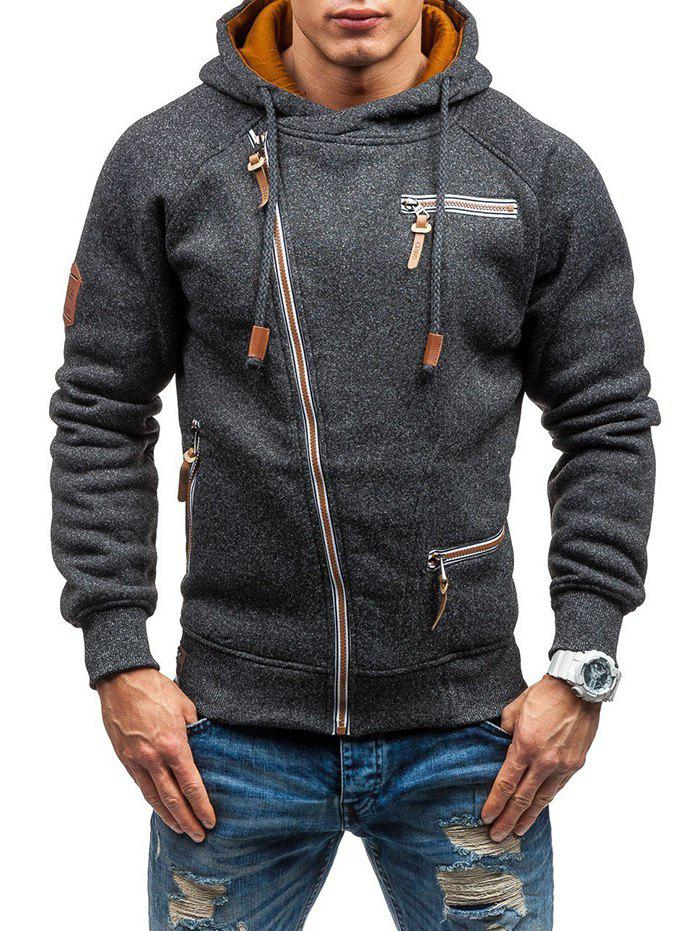 New Men Hooded Sweater Personality Side Zipper Black Gray