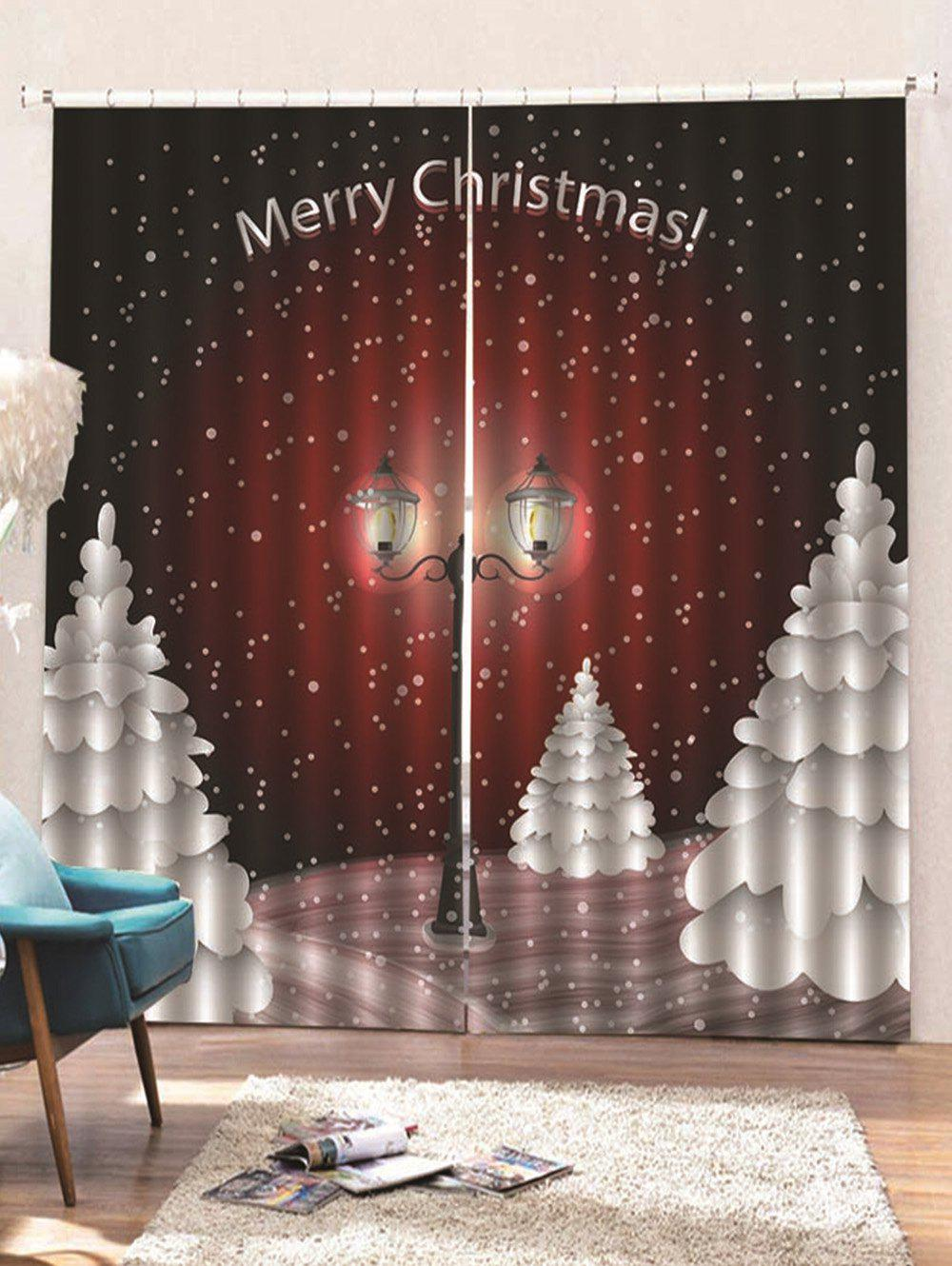 Unique 2 Panels Christmas Night Streetlight Print Window Curtains