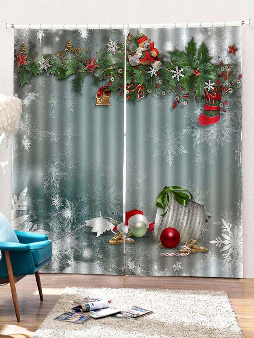Buy 2 Panels Christmas Merry Print Window Curtains
