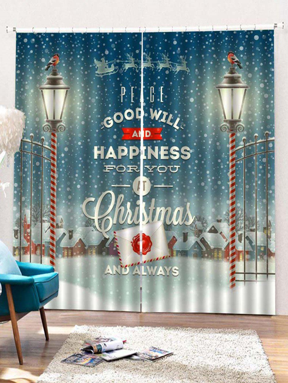 Fancy 2 Panels Christmas Town Blessing Print Window Curtains
