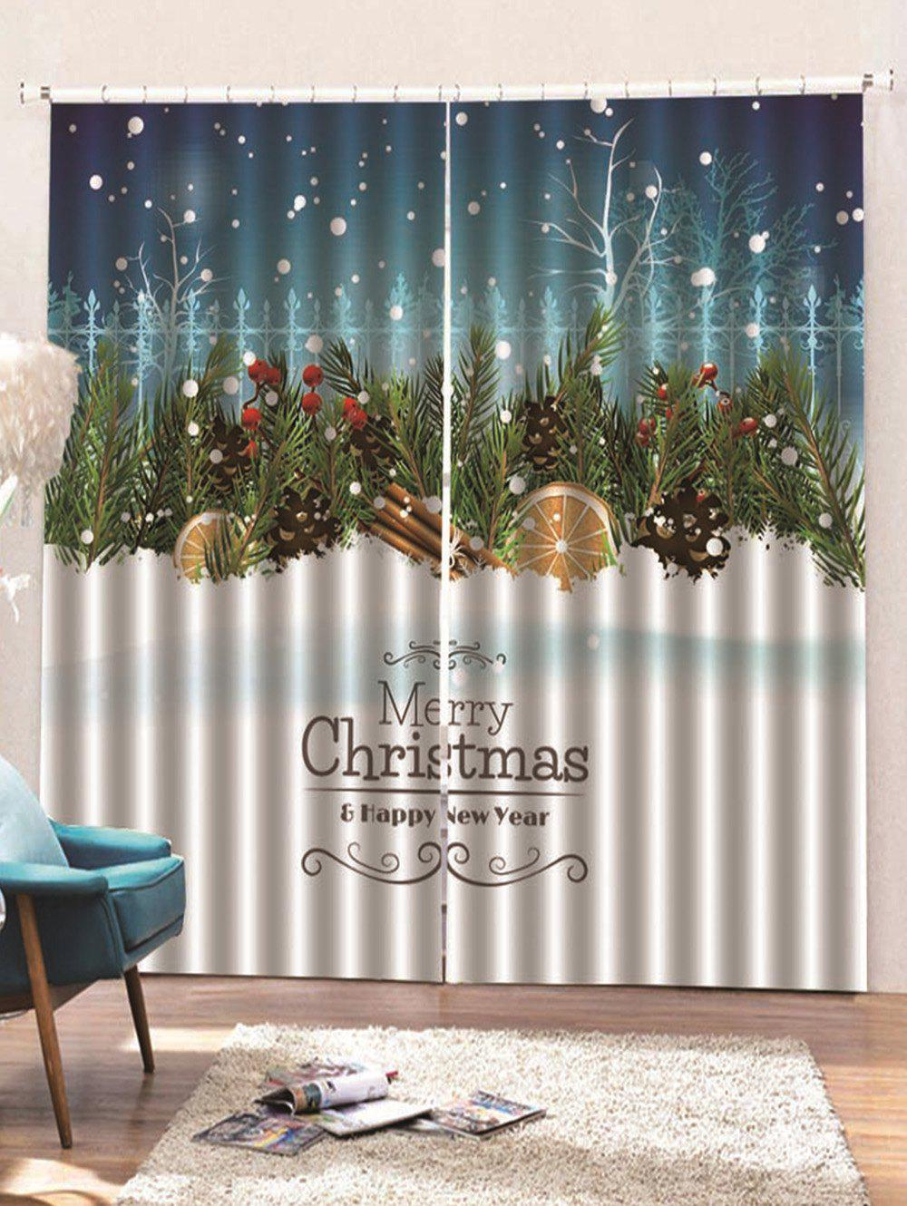 New 2 Panels Christmas Snowfield Tree Print Window Curtains