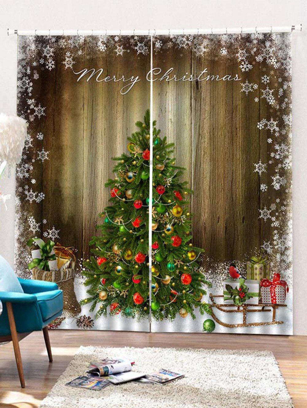Latest 2 Panels Christmas Tree Wood Grain Print Window Curtains