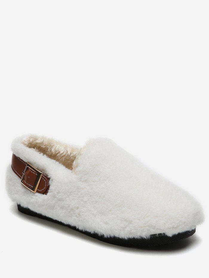 Buy Contrast Buckle Fuzzy Loafer Shoes