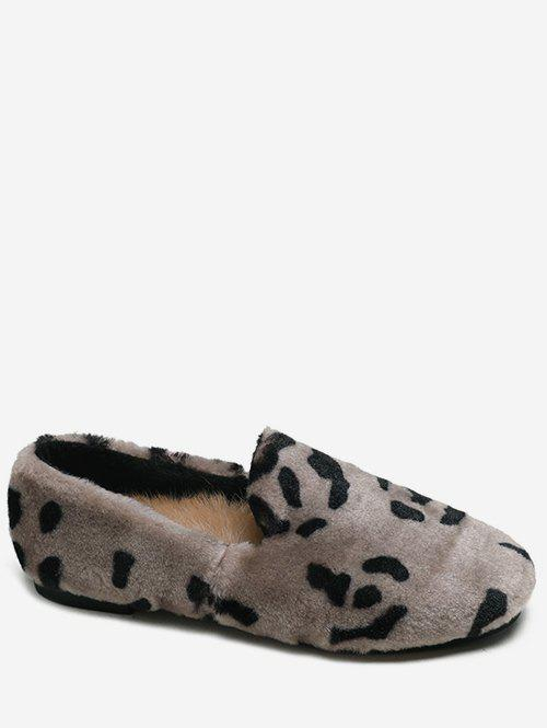Store Leopard Print Fluffy Slip On Shoes