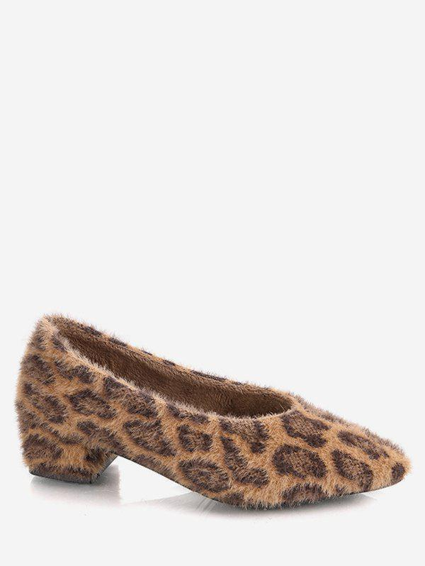 Affordable Pointed Toe Leopard Print Fuzzy Shoes