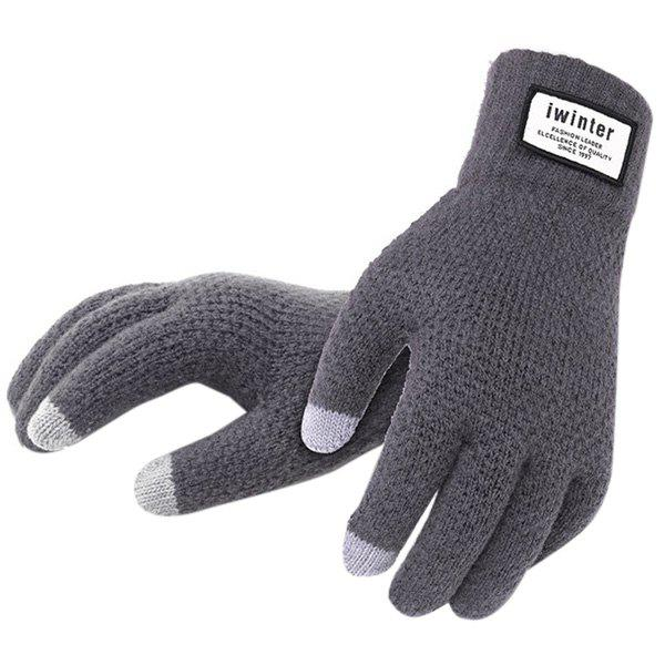 Discount Men's Touch Screen Plus Velvet Warm Driving Knitted Wool Gloves