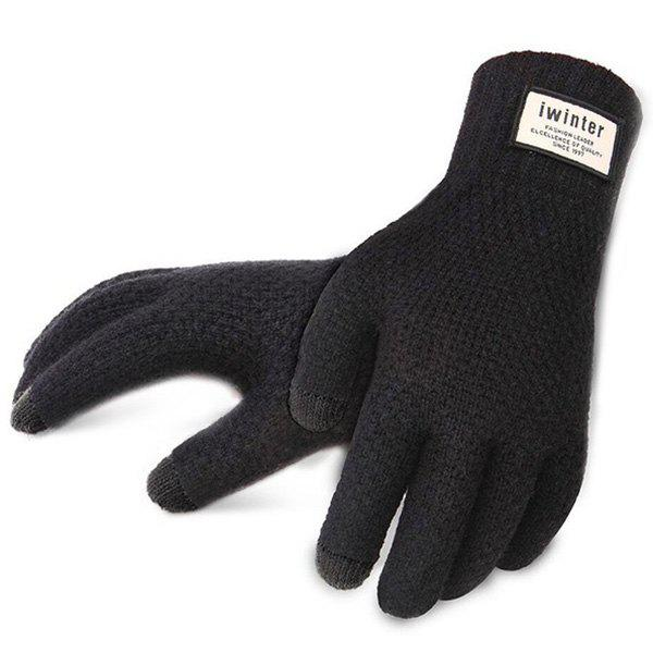 Outfits Men's Touch Screen Plus Velvet Warm Driving Knitted Wool Gloves