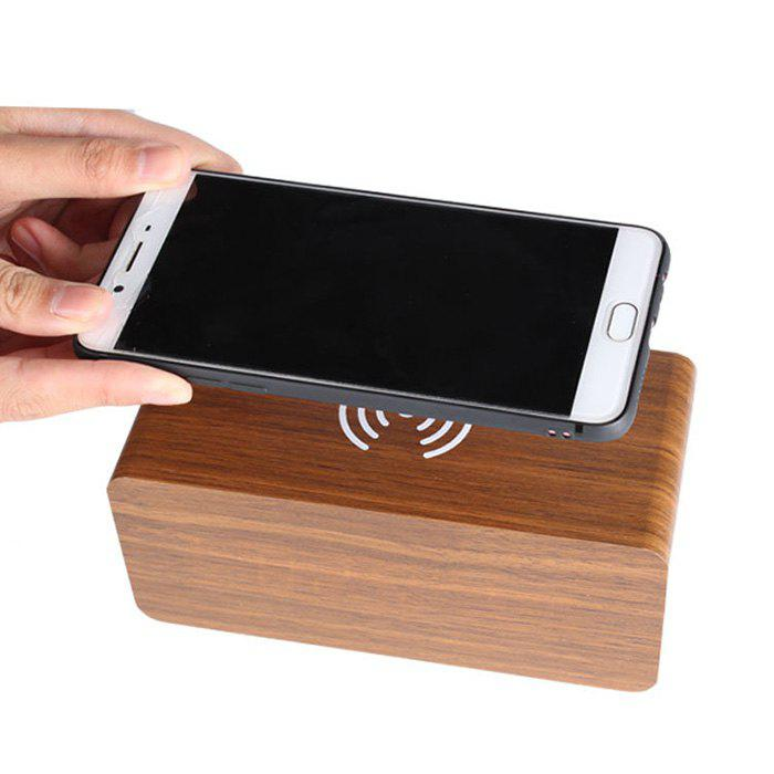 Cheap Creative Wireless Charging Voice-activated LED Wood Clock Electronic Creative Silent Alarm Clock Wooden Clock