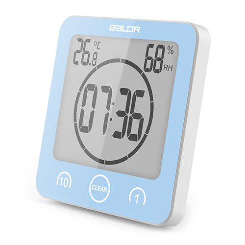 Chic BALDR 1/10 Minute Countdown Waterproof Bathroom Electronic Clock Temperature Humidity Meter With Suction Cup Bracket