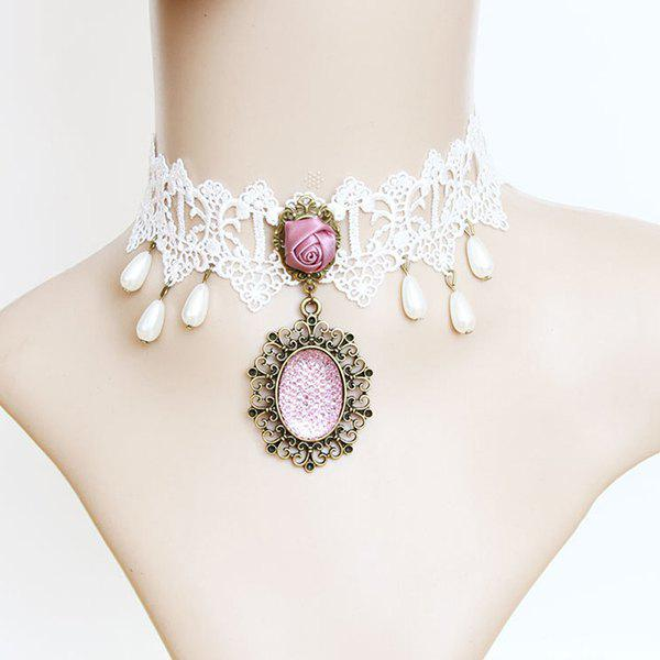 Cheap White Lace Female Necklace